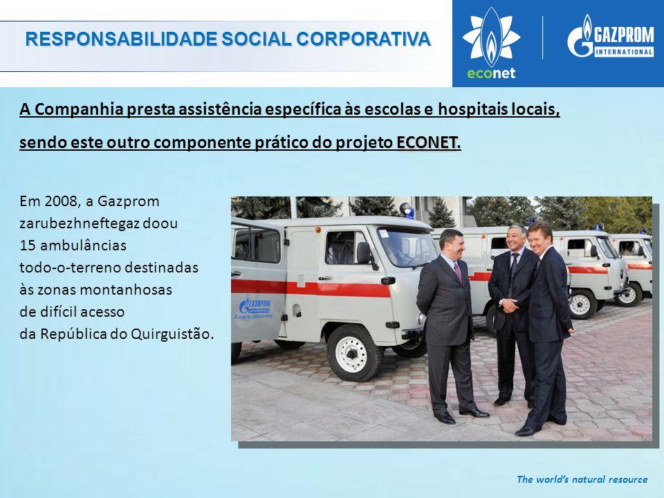 The world's natural resource RESPONSABILIDADE SOCIAL CORPORATIVA ECONET A Companhia presta assistência específica às escolas e hospitais locais, sendo este outro componente prático do projeto ECONET.