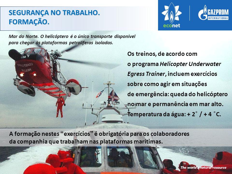 Os treinos, de acordo com o programa Helicopter Underwater Egress Trainer, incluem exercícios sobre como agir em situações de emergência: queda do helicóptero no mar e permanência em mar alto.