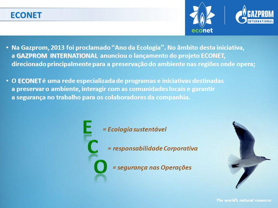 ECONET GAZPROM INTERNATIONAL ECONET Na Gazprom, 2013 foi proclamado Ano da Ecologia .