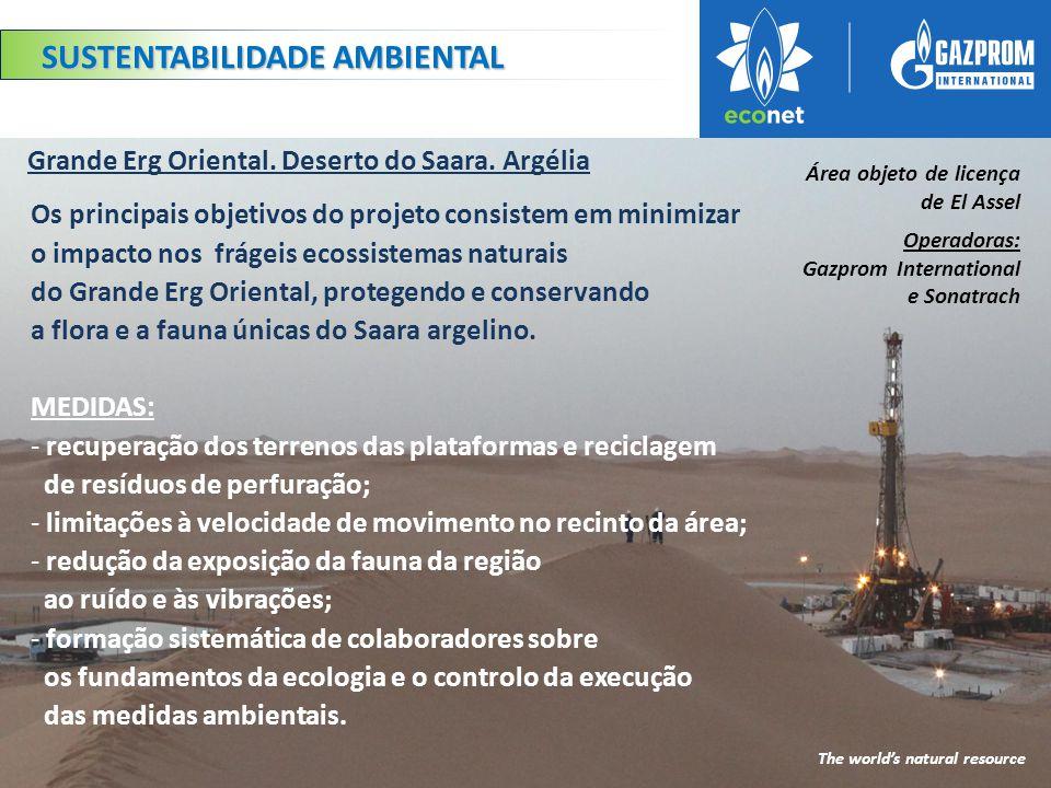 Os principais objetivos do projeto consistem em minimizar o impacto nos frágeis ecossistemas naturais do Grande Erg Oriental, protegendo e conservando a flora e a fauna únicas do Saara argelino.