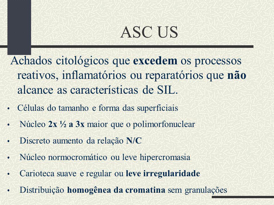 ASC US Achados citológicos que excedem os processos reativos, inflamatórios ou reparatórios que não alcance as características de SIL. Células do tama