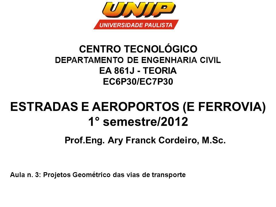 ESTRADAS E AEROPORTOS (E FERROVIA) 1° semestre/2012 Prof.Eng. Ary Franck Cordeiro, M.Sc. Aula n. 3: Projetos Geométrico das vias de transporte CENTRO