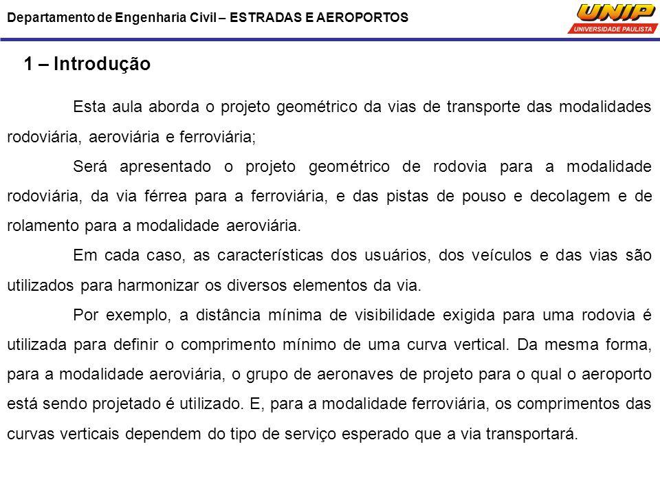 1 – Introdução Esta aula aborda o projeto geométrico da vias de transporte das modalidades rodoviária, aeroviária e ferroviária; Será apresentado o pr