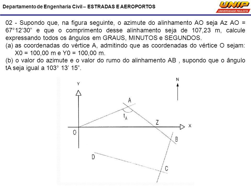 """Departamento de Engenharia Civil – ESTRADAS E AEROPORTOS 02 - Supondo que, na figura seguinte, o azimute do alinhamento AO seja Az AO = 67°12'30"""" e qu"""