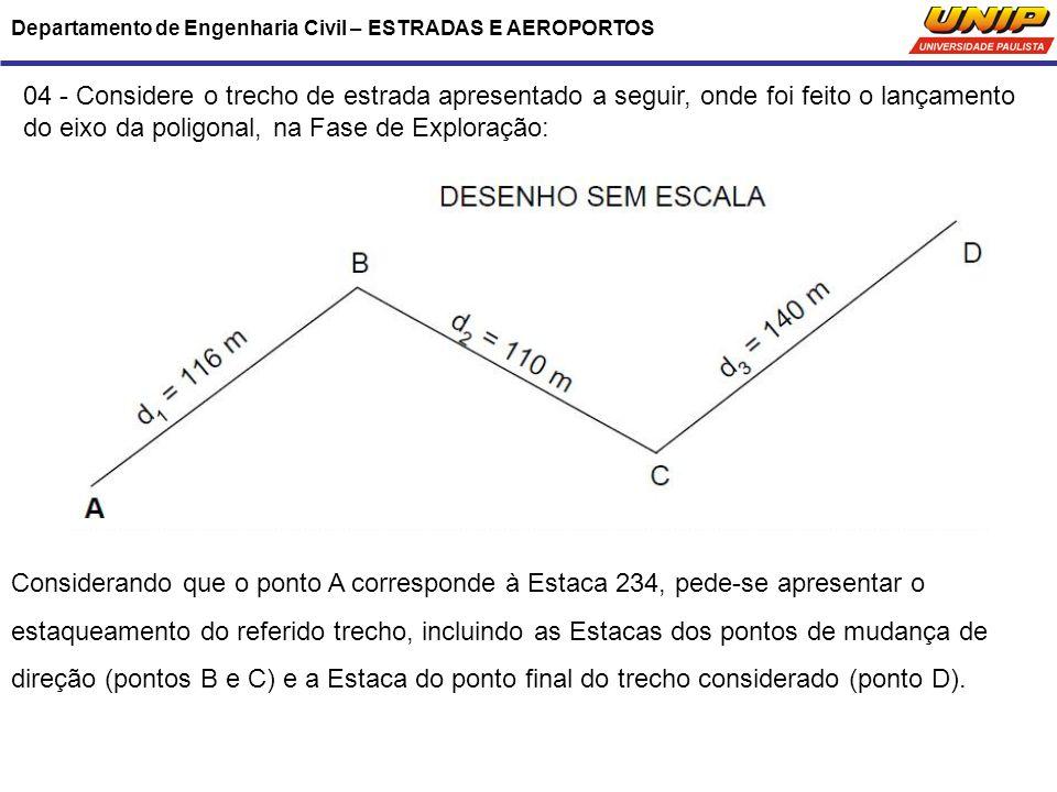 Departamento de Engenharia Civil – ESTRADAS E AEROPORTOS 04 - Considere o trecho de estrada apresentado a seguir, onde foi feito o lançamento do eixo