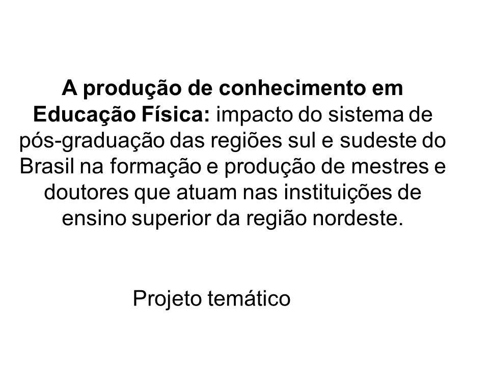 Tópicos 1.A produção do conhecimento em EF nas IES do Nordeste : Antecedentes e justificativas.