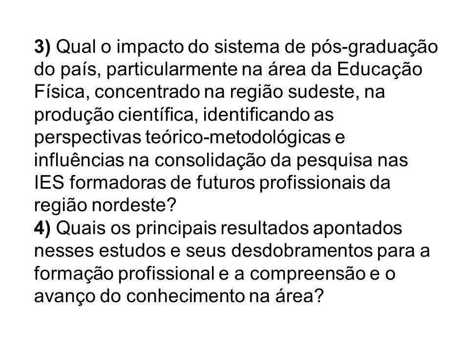 3) Qual o impacto do sistema de pós-graduação do país, particularmente na área da Educação Física, concentrado na região sudeste, na produção científi