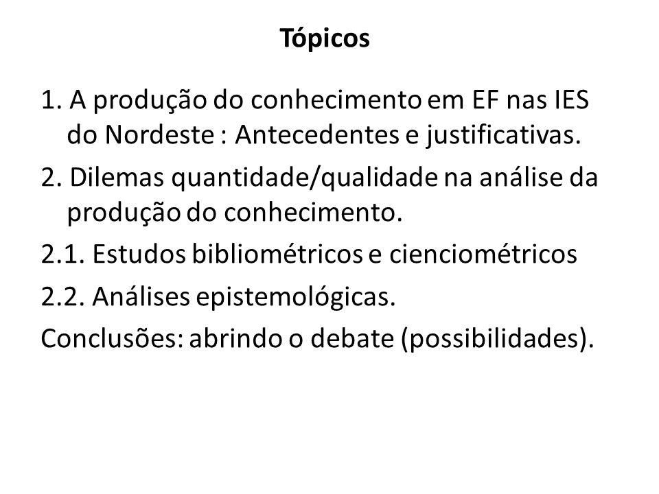 Tópicos 1. A produção do conhecimento em EF nas IES do Nordeste : Antecedentes e justificativas. 2. Dilemas quantidade/qualidade na análise da produçã