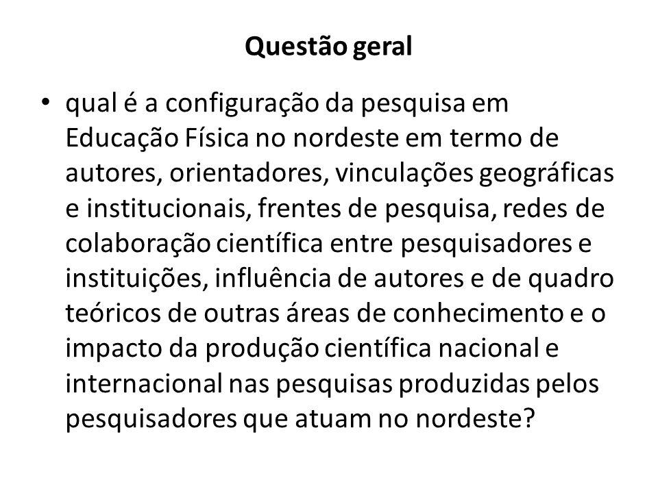Questão geral qual é a configuração da pesquisa em Educação Física no nordeste em termo de autores, orientadores, vinculações geográficas e institucio