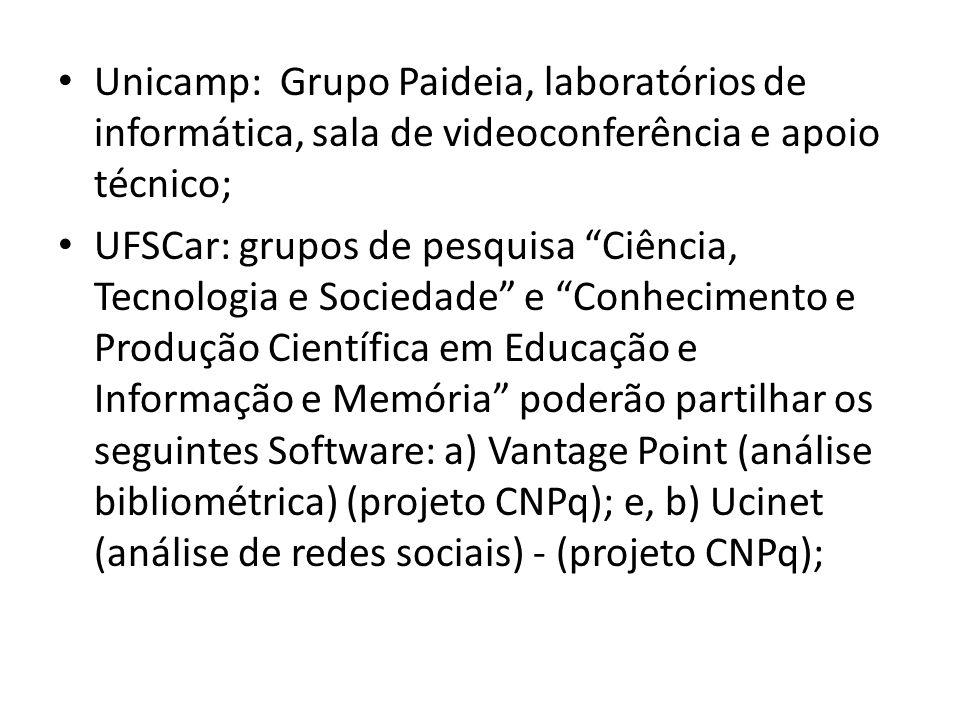 """Unicamp: Grupo Paideia, laboratórios de informática, sala de videoconferência e apoio técnico; UFSCar: grupos de pesquisa """"Ciência, Tecnologia e Socie"""