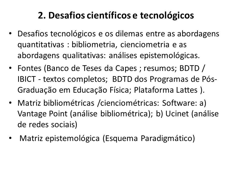 2. Desafios científicos e tecnológicos Desafios tecnológicos e os dilemas entre as abordagens quantitativas : bibliometria, cienciometria e as abordag