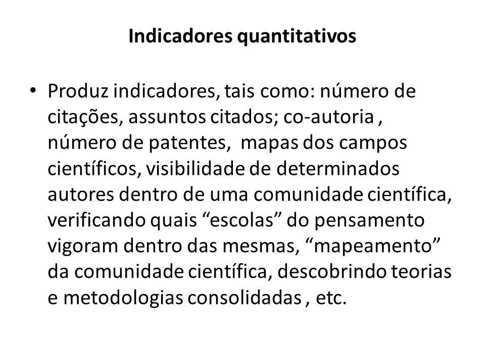 Indicadores quantitativos Produz indicadores, tais como: número de citações, assuntos citados; co‐autoria, número de patentes, mapas dos campos cientí