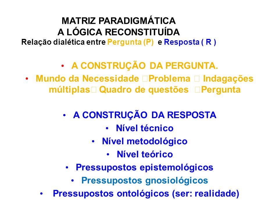 MATRIZ PARADIGMÁTICA A LÓGICA RECONSTITUÍDA Relação dialética entre Pergunta (P) e Resposta ( R ) A CONSTRUÇÃO DA PERGUNTA. Mundo da Necessidade  Pro