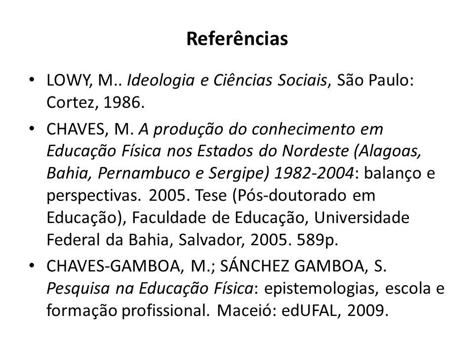 Referências LOWY, M.. Ideologia e Ciências Sociais, São Paulo: Cortez, 1986. CHAVES, M. A produção do conhecimento em Educação Física nos Estados do N