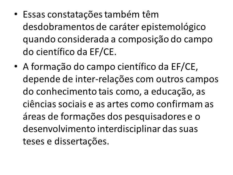 Essas constatações também têm desdobramentos de caráter epistemológico quando considerada a composição do campo do científico da EF/CE. A formação do