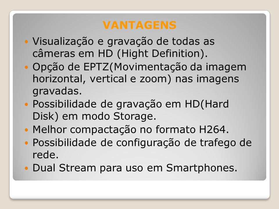 Visualização e gravação de todas as câmeras em HD (Hight Definition). Opção de EPTZ(Movimentação da imagem horizontal, vertical e zoom) nas imagens gr