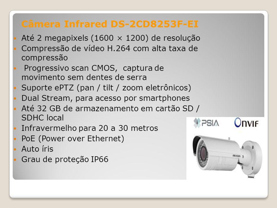 Até 2 megapixels (1600 × 1200) de resolução Compressão de vídeo H.264 com alta taxa de compressão Progressivo scan CMOS, captura de movimento sem dent
