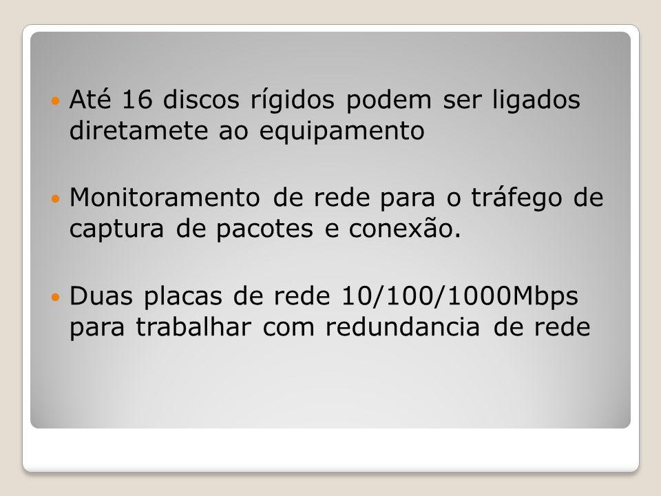 Até 16 discos rígidos podem ser ligados diretamete ao equipamento Monitoramento de rede para o tráfego de captura de pacotes e conexão. Duas placas de