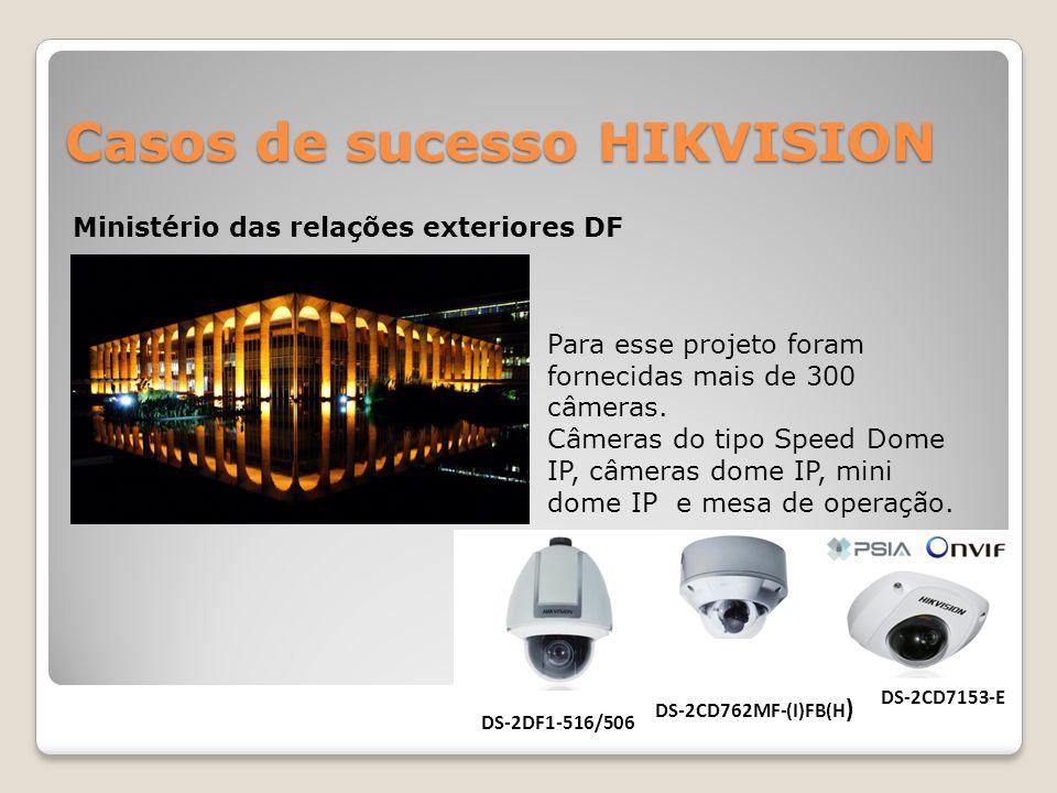 Casos de sucesso HIKVISION Ministério das relações exteriores DF Para esse projeto foram fornecidas mais de 300 câmeras. Câmeras do tipo Speed Dome IP