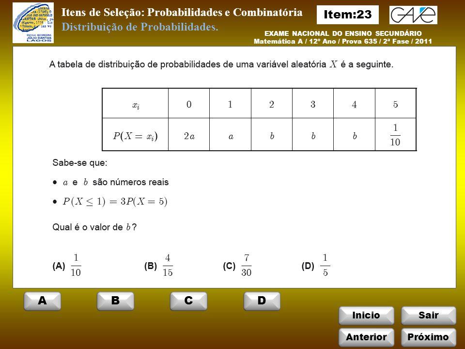 Itens de Seleção: Probabilidades e Combinatória InicioSair EXAME NACIONAL DO ENSINO SECUNDÁRIO Matemática A / 12º Ano / Prova 635 / 2ª Fase / 2011 Distribuição de Probabilidades.
