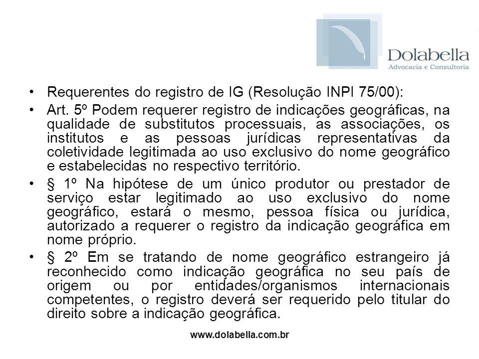 www.dolabella.com.br Requerentes do registro de IG (Resolução INPI 75/00): Art. 5º Podem requerer registro de indicações geográficas, na qualidade de