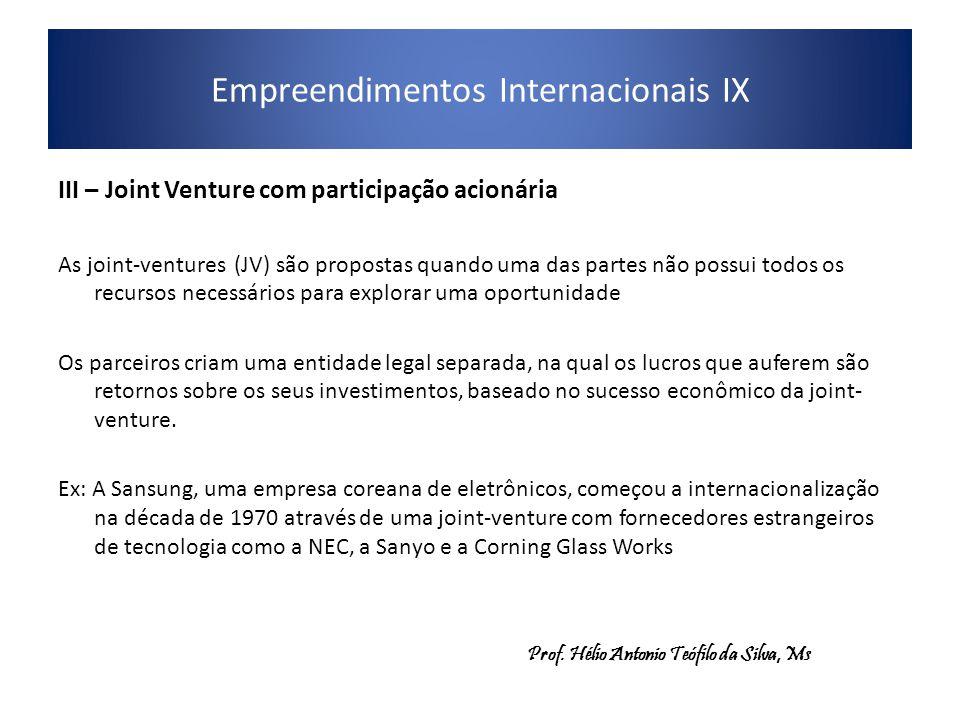 Empreendimentos Internacionais IX III – Joint Venture com participação acionária As joint-ventures (JV) são propostas quando uma das partes não possui