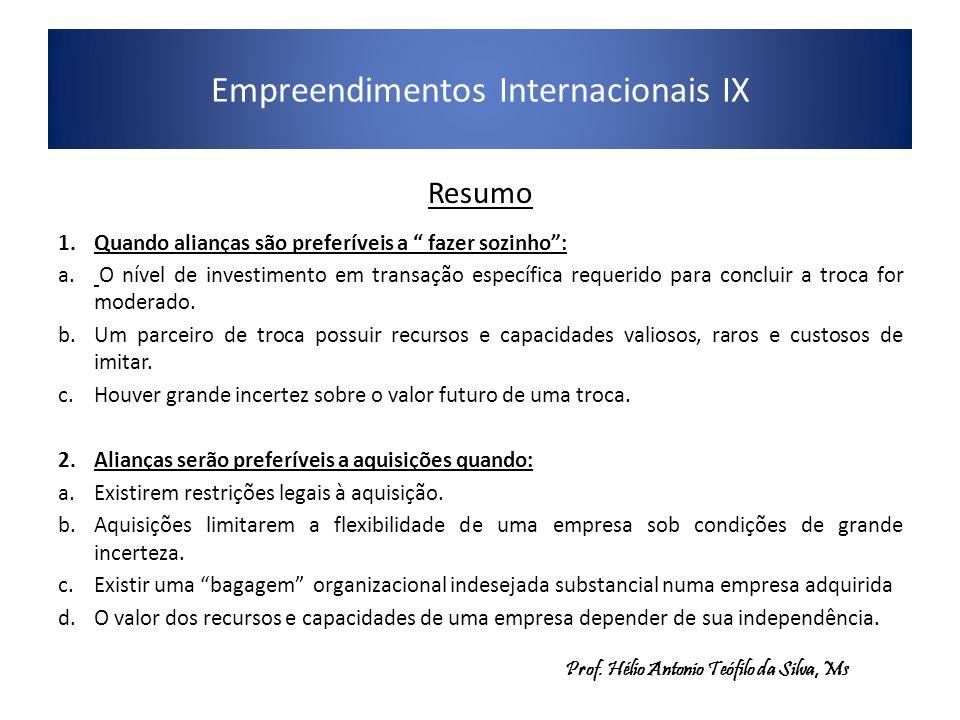 """Empreendimentos Internacionais IX Resumo 1.Quando alianças são preferíveis a """" fazer sozinho"""": a. O nível de investimento em transação específica requ"""