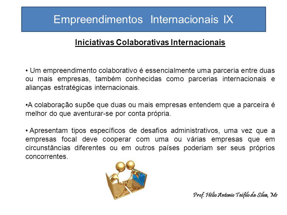 Empreendimentos Internacionais IX Em termos gerais, a empresa entra em um empreendimento colaborativo quando entende que um componente necessário na sua cadeia de valor é fraco ou não existe.