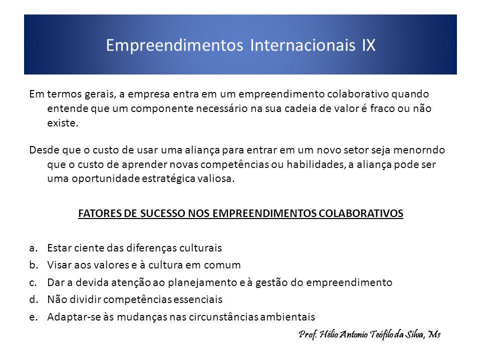 Empreendimentos Internacionais IX Em termos gerais, a empresa entra em um empreendimento colaborativo quando entende que um componente necessário na s