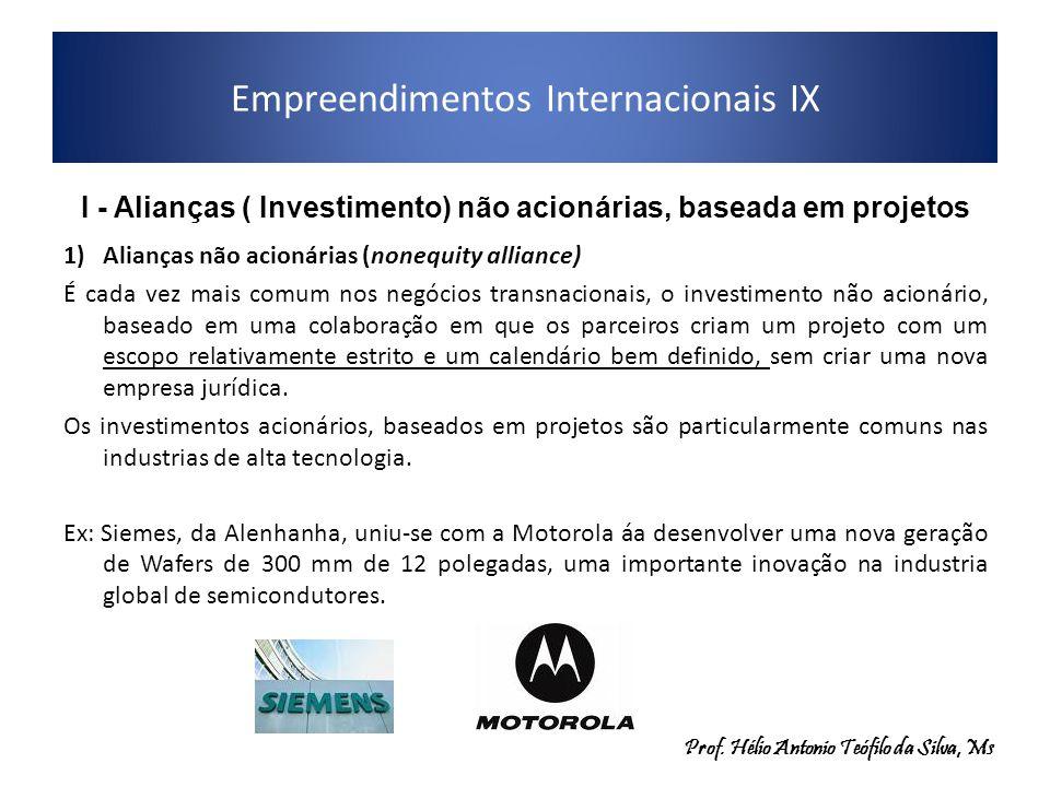 Empreendimentos Internacionais IX 2)Consórcio: É um investimento usualmente, baseado em um projeto e com múltiplos parceiros que trabalham em um projeto de grande escala, formado a partir de um contrato que delineia os direitos e obrigações de cada membr.