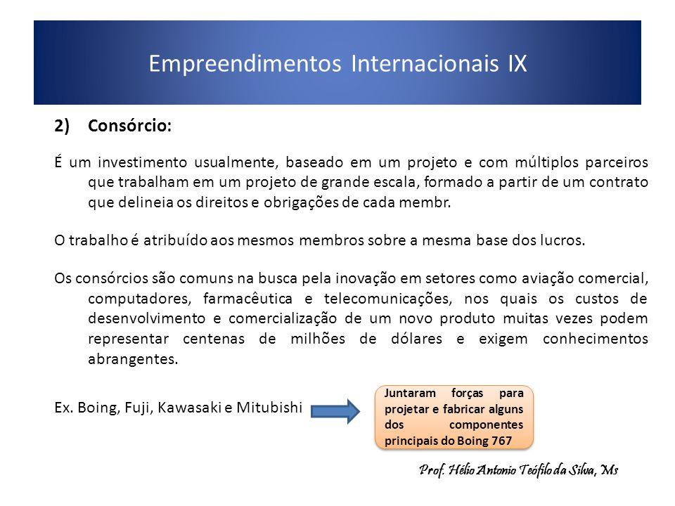 Empreendimentos Internacionais IX 2)Consórcio: É um investimento usualmente, baseado em um projeto e com múltiplos parceiros que trabalham em um proje