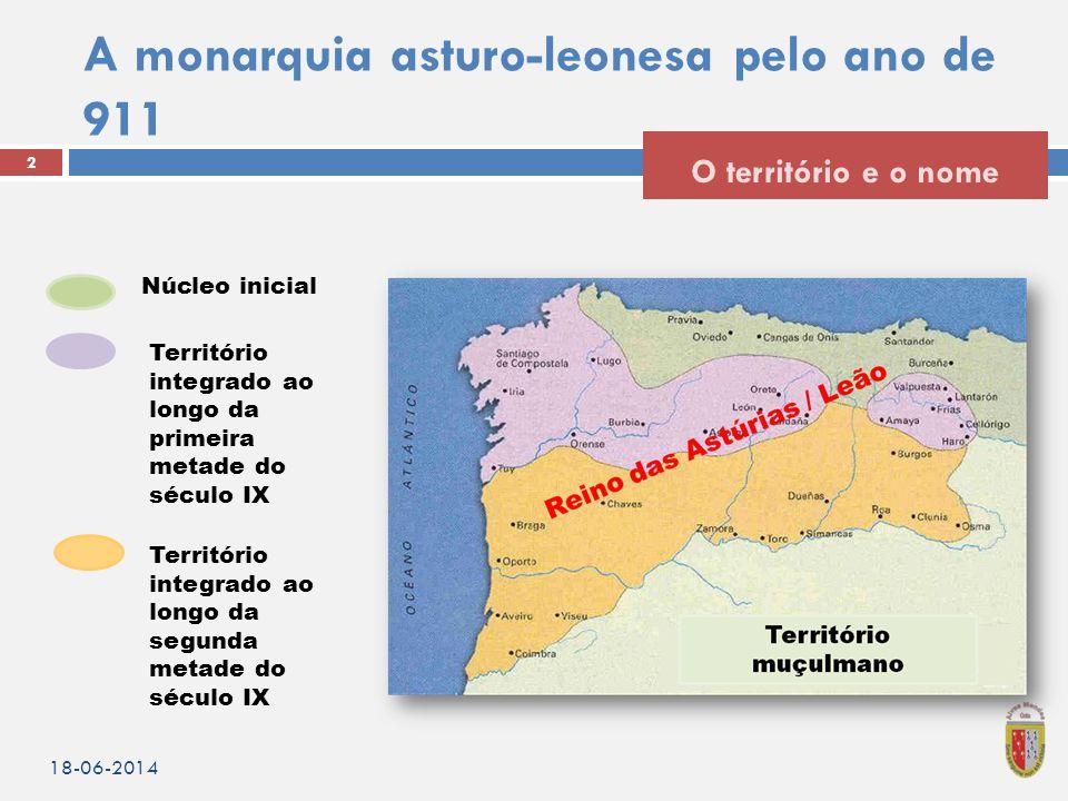 A monarquia asturo-leonesa pelo ano de 911 18-06-2014 2 O território e o nome Núcleo inicial Território integrado ao longo da primeira metade do sécul