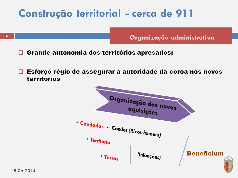 Construção territorial - cerca de 911  Grande autonomia dos territórios apresados;  Esforço régio de assegurar a autoridade da coroa nos novos terri