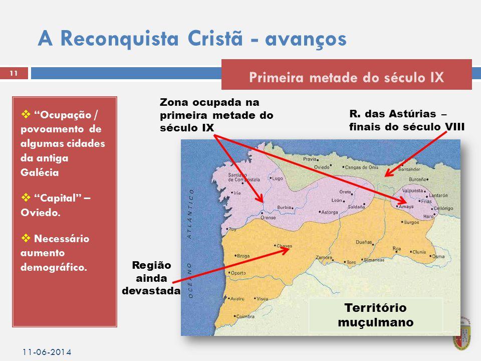 A Reconquista Cristã - avanços  Ocupação / povoamento de algumas cidades da antiga Galécia  Capital – Oviedo.