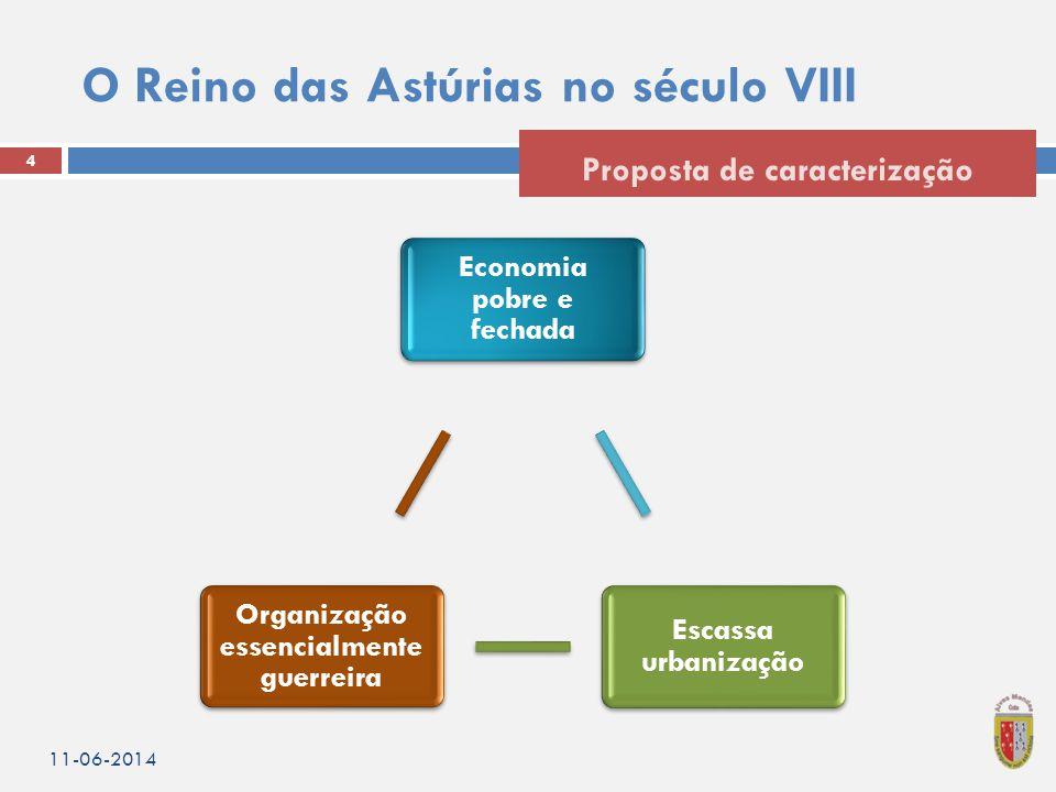O Reino das Astúrias no século VIII 4 Proposta de caracterização 11-06-2014 Economia pobre e fechada Escassa urbanização Organização essencialmente guerreira