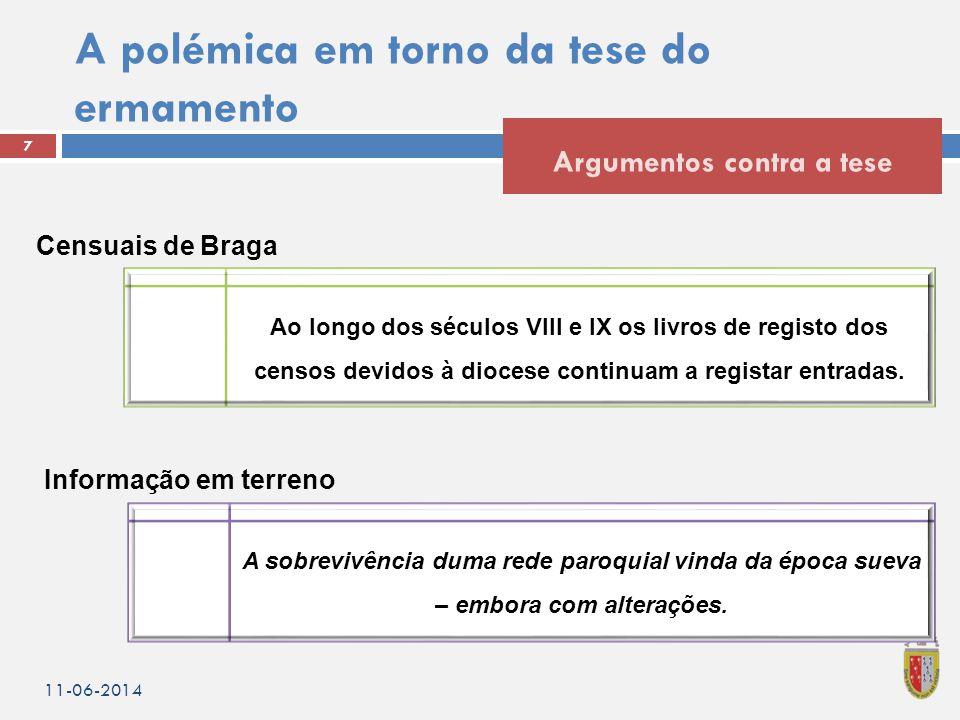 A polémica em torno da tese do ermamento 7 Argumentos contra a tese 11-06-2014 Ao longo dos séculos VIII e IX os livros de registo dos censos devidos à diocese continuam a registar entradas.