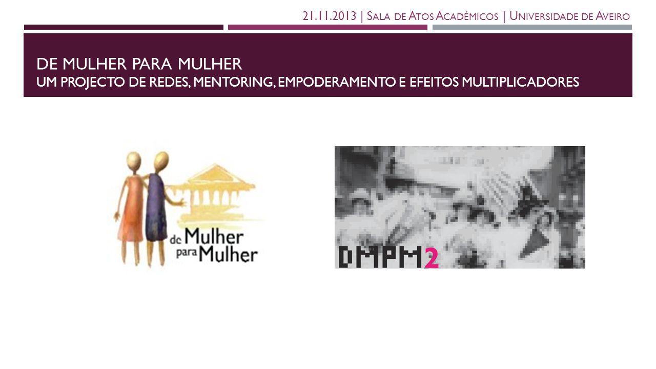 DE MULHER PARA MULHER UM PROJECTO DE REDES, MENTORING, EMPODERAMENTO E EFEITOS MULTIPLICADORES 21.11.2013   S ALA DE A TOS A CADÉMICOS   U NIVERSIDADE