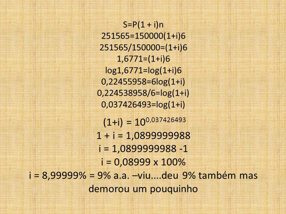 S=P(1 + i)n 251565=150000(1+i)6 251565/150000=(1+i)6 1,6771=(1+i)6 log1,6771=log(1+i)6 0,22455958=6log(1+i) 0,224538958/6=log(1+i) 0,037426493=log(1+i) (1+i) = 10 0,037426493 1 + i = 1,0899999988 i = 1,0899999988 -1 i = 0,08999 x 100% i = 8,99999% = 9% a.a.