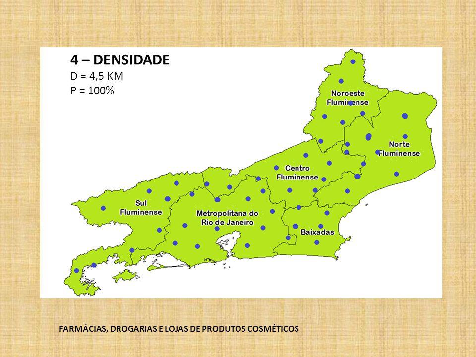 4 – DENSIDADE D = 4,5 KM P = 100% FARMÁCIAS, DROGARIAS E LOJAS DE PRODUTOS COSMÉTICOS