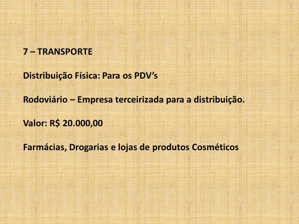 7 – TRANSPORTE Distribuição Física: Para os PDV's Rodoviário – Empresa terceirizada para a distribuição. Valor: R$ 20.000,00 Farmácias, Drogarias e lo