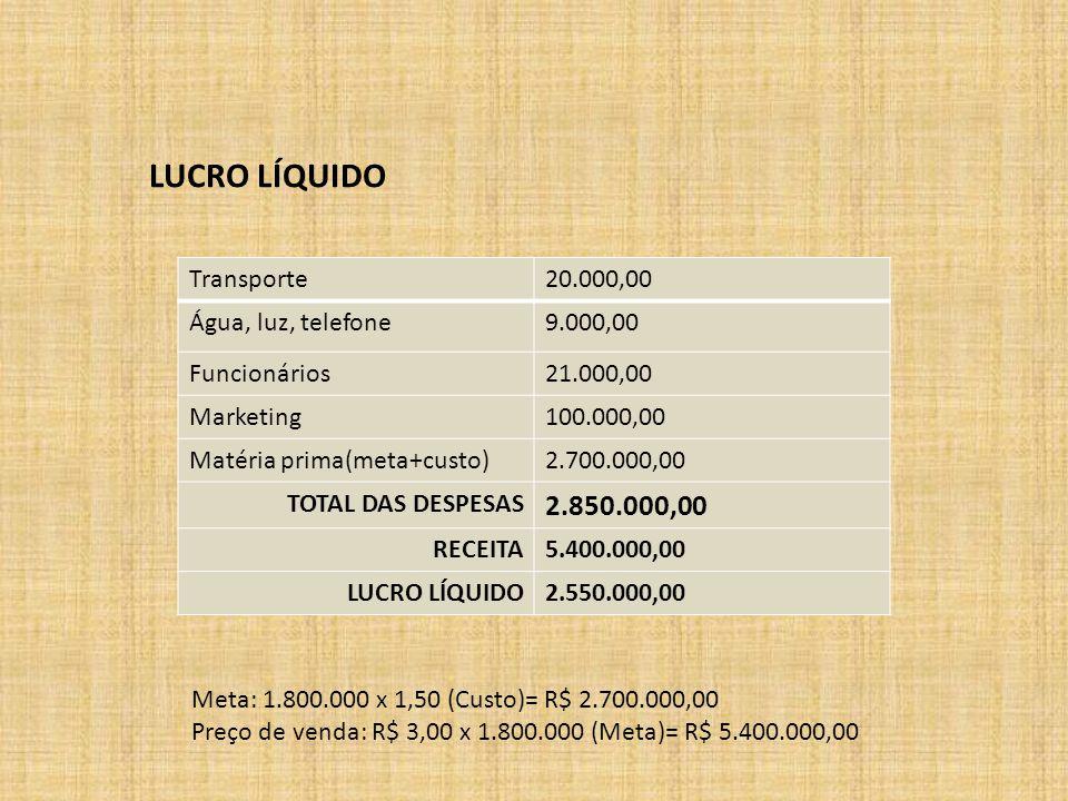 LUCRO LÍQUIDO Transporte20.000,00 Água, luz, telefone9.000,00 Funcionários21.000,00 Marketing100.000,00 Matéria prima(meta+custo)2.700.000,00 TOTAL DAS DESPESAS 2.850.000,00 RECEITA5.400.000,00 LUCRO LÍQUIDO2.550.000,00 Meta: 1.800.000 x 1,50 (Custo)= R$ 2.700.000,00 Preço de venda: R$ 3,00 x 1.800.000 (Meta)= R$ 5.400.000,00