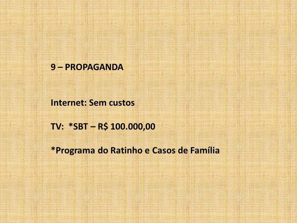 9 – PROPAGANDA Internet: Sem custos TV: *SBT – R$ 100.000,00 *Programa do Ratinho e Casos de Família
