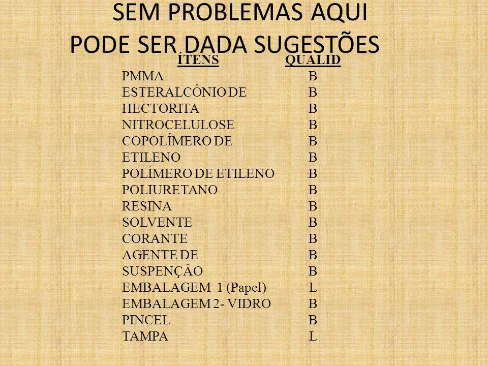 ÍTENS PMMA ESTERALCÔNIO DE HECTORITA NITROCELULOSE COPOLÍMERO DE ETILENO POLÍMERO DE ETILENO POLIURETANO RESINA SOLVENTE CORANTE AGENTE DE SUSPENÇÃO EMBALAGEM 1 (Papel) EMBALAGEM 2- VIDRO PINCEL TAMPA QUALID B L B L SEM PROBLEMAS AQUI PODE SER DADA SUGESTÕES