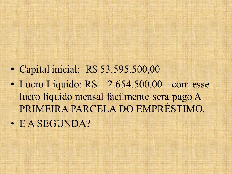 Capital inicial: R$ 53.595.500,00 Lucro Líquido: RS 2.654.500,00 – com esse lucro líquido mensal facilmente será pago A PRIMEIRA PARCELA DO EMPRÉSTIMO