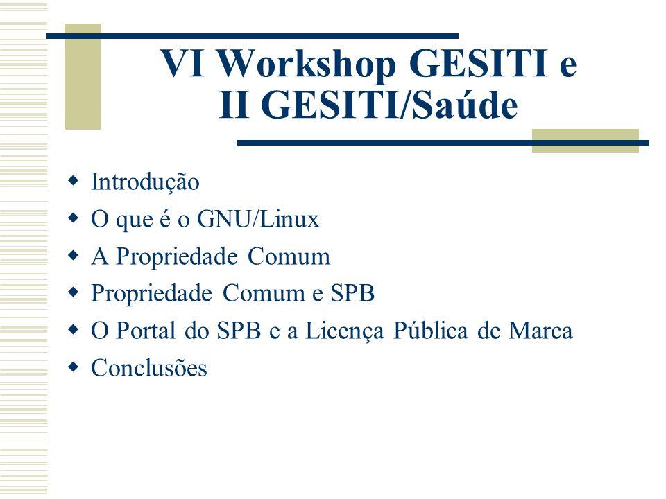 VI Workshop GESITI e II GESITI/Saúde  Introdução  O que é o GNU/Linux  A Propriedade Comum  Propriedade Comum e SPB  O Portal do SPB e a Licença Pública de Marca  Conclusões