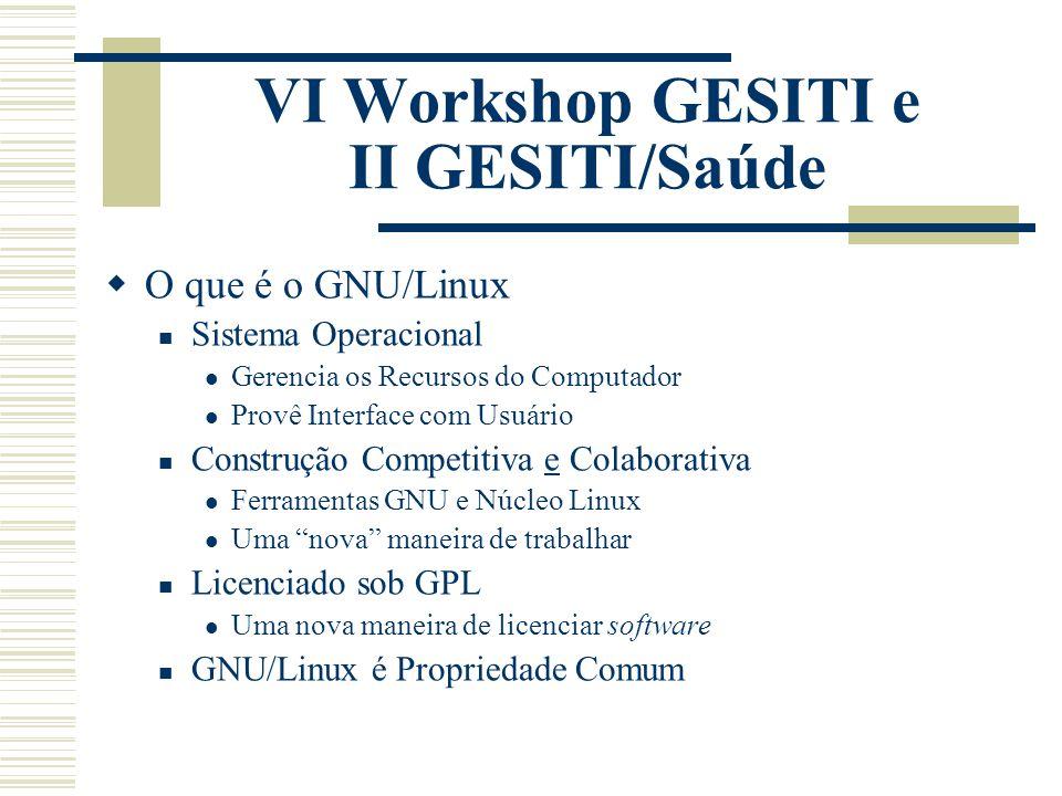 VI Workshop GESITI e II GESITI/Saúde  O que é o GNU/Linux Sistema Operacional Gerencia os Recursos do Computador Provê Interface com Usuário Construção Competitiva e Colaborativa Ferramentas GNU e Núcleo Linux Uma nova maneira de trabalhar Licenciado sob GPL Uma nova maneira de licenciar software GNU/Linux é Propriedade Comum