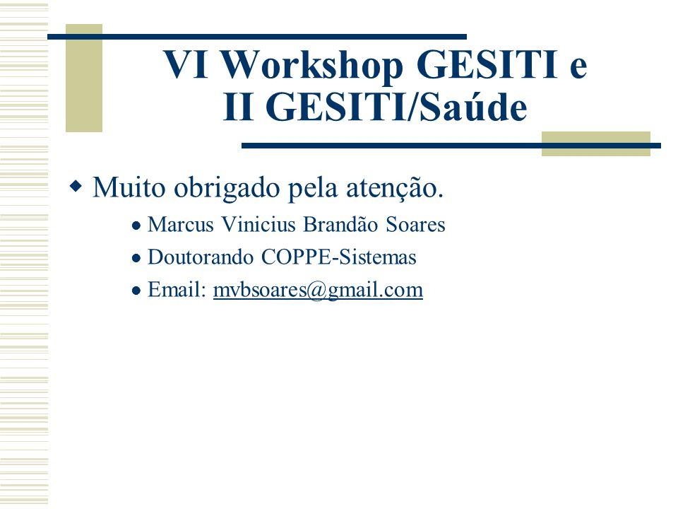 VI Workshop GESITI e II GESITI/Saúde  Muito obrigado pela atenção.