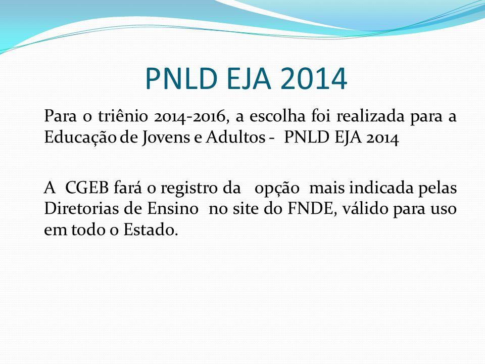 PNLD EJA 2014 Para o triênio 2014-2016, a escolha foi realizada para a Educação de Jovens e Adultos - PNLD EJA 2014 A CGEB fará o registro da opção ma