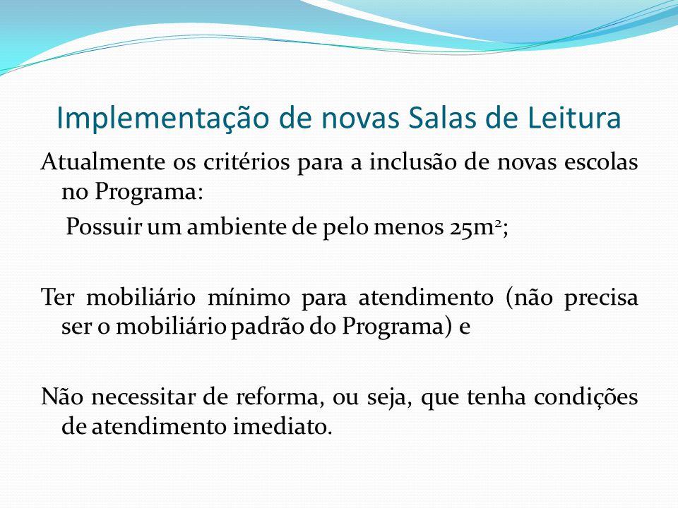 Implementação de novas Salas de Leitura Atualmente os critérios para a inclusão de novas escolas no Programa: Possuir um ambiente de pelo menos 25m 2