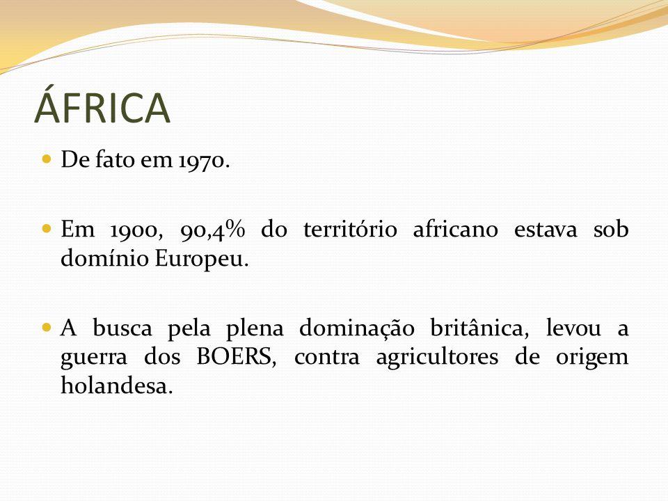 ÁFRICA De fato em 1970. Em 1900, 90,4% do território africano estava sob domínio Europeu. A busca pela plena dominação britânica, levou a guerra dos B